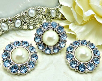Ivory Pearl Rhinestone Buttons W/ Light Blue Surrounding Rhinestones Acrylic Buttons Garment Buttons Bridal Coat Buttons 25mm 2997 08P 11R