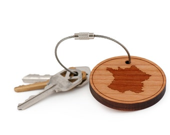 France Keychain, Wood Keychain, Custom Keychain, Gift For Him or Her, Wedding Gifts, Groomsman Gifts, and Personalized