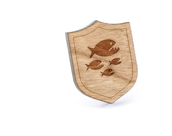Piranha Lapel Pin, Wooden Pin, Wooden Lapel, Gift For Him or Her, Wedding Gifts, Groomsman Gifts, and Personalized