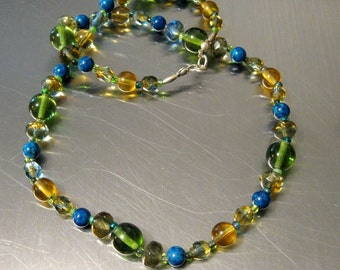 19 Inch Czech Glass Beaded Necklace NEW Earthen Colors Faceted Beads