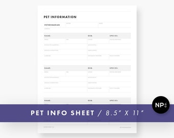 Pet Information Sheet - 8.5 x 11 Letter Size - Printable PDF - Instant Digital Download - Minimalist Modern - Black and White - Dog Cat