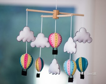 10% OFF, Baby mobile, Nursery mobile - Hot air balloon mobile