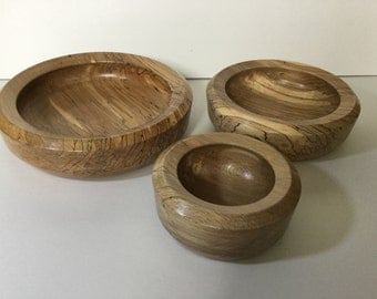 Set of three spalted elm bowls
