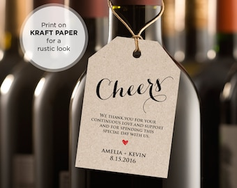 Cheers Wine Tag, Wedding Favor Tag, Wedding Table Wine, DiY Printable Tag, INSTANT DOWNLOAD, Editable Template, PDF File, Digital Download