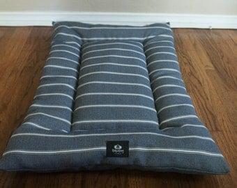 Gaslamp District Stripe Dog Bed, Dog Crate Bed, Dog Bed,Dog Crate Mat- Blue