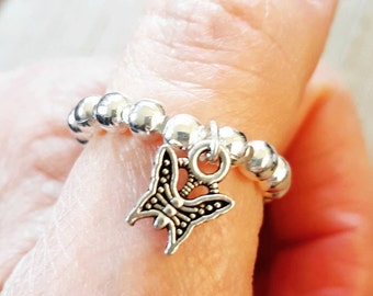 Silver Bead Ring with Butterfly Charm