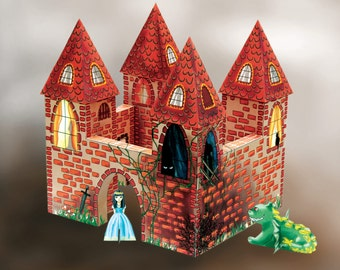 Fairytale Paper Castle kit, downloadable and printable, PDF, papercraft toy for kids, dolls,  princess, prince, knight, dragon, king