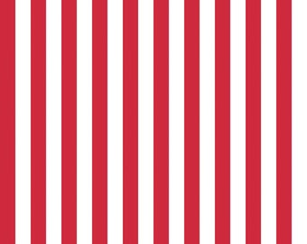 "Riley Blake 1/2"" Narrow Stripes, White and Red, fabric by the yard"