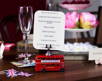 Victory Vintage Wedding Table Menu Holder - London Bus - Red Routemaster 1940s - Diecast Scale Model - with card clip