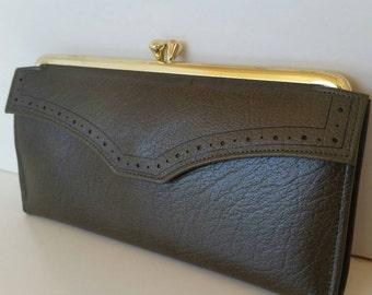 Vintage  Princess Gardner leather wallet. Olive green leather wallet.