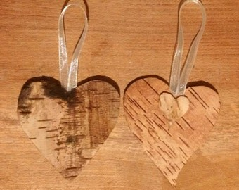 Scented Birch Bark Heart & Ivory Ribbon