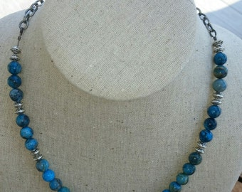 "18"" Blue Crazy Lace Agate Necklace"