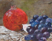 """Grapes and Pomegranate 001,       Original painting by Tony Taylor,    9"""" x 6"""""""