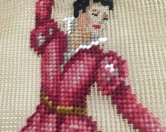 MALE Ballet Dancer Pillow from Petit Needlepoint, To Be Upcycled into a One-of-a-Kind Pillow, Ballet Dance Bedding, Down/Feather Insert