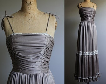 1970s Gunne Sax Style Brown Sleeveless Maxi dress - Prom - Formal