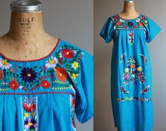 1970s Blue Mexican Embroidered Dress - Large