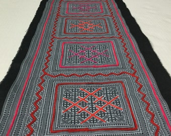 Sale!!! Special Hmong cotton,vintage Batik fabric textiles,table runner,fabric textiles decorated embroidery Hmong hill tribe From Thailand