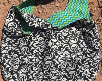 73 - Black & White Hobo Bag - Mudium, Handbag, Zig Zags, Teens, Women, Gifts, Birthday