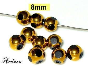 Gold faceted 10 glass beads 8 mm black (K899. 8)