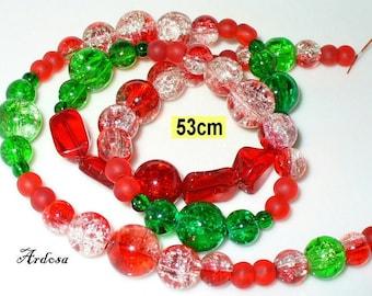 1 red green beads 53 cm (K820. 6)