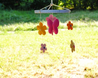 Flowers with butterfly baby mobile
