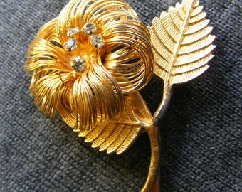 Beautiful vintage, flower, flower, rhinestone pin