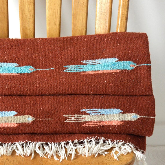 Vintage 1970's Southwestern Navajo Mexican Hand Woven