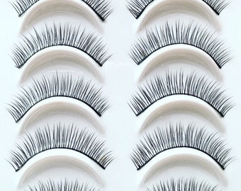 5 Pairs False Eyelashes No. 222 Natural Thin Lashes great for Asian smaller eyes