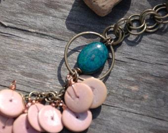 Pink wood bib necklace