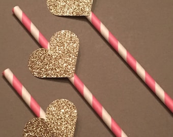 12 Gold Glitter Heart Party Straws Gold Heart Straws Baby Shower Straws Wedding Shower Straws Birthday Straws Bachelorette Straws