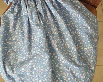 Vintage Girl's Blue Floral Dress / Frock with Lace Trim