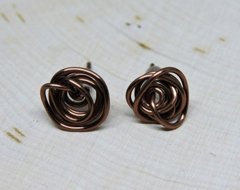 Katie Wire Knot Studs - Antique Copper