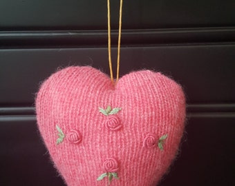 "Small Pink Country Rose Keepsake Scented Heart 4"" X 4.5"""