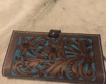 Floral Tooled Ladies Wallet