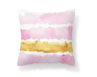 Throw Pillow Pink, Decroative Pillow, Gold Pillow, Pink pillow, White pillow, watercolor pillow