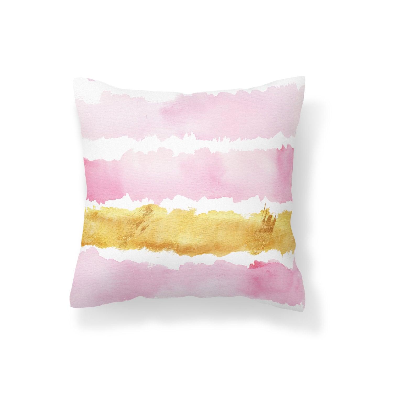 Throw Pillow Pink Decroative Pillow Gold Pillow Pink