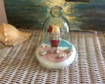 Vintage Bisque Kewpie Flapper Doll, Bathing beauty, Adorable Dora with glass cloche