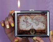 Cigarette case Vintage map, Chrome Lighter unusual lighters Lighter Lighter