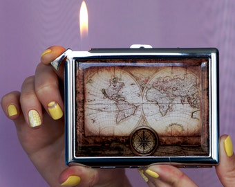 Cigarette case Vintage map, Chrome Lighter unusual lighters Lighter Lighter