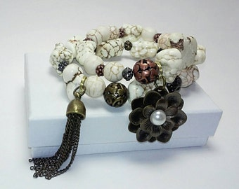 SALE Beaded Stack Bracelet Set: White antique/charms/flowers