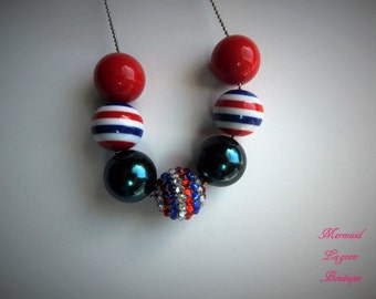 Patriotic Red White and Blue 4th of July Presidents Day Veternans day chunky beaded bubblegum necklace ball and chain party favor