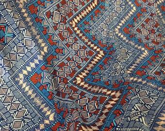 "100% Rayon-dobby textured rayon challis ""abstract geometric-zigzag"" print natural fiber by the yard"