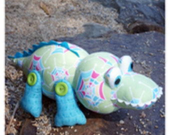 "Melly and Me pattern by  Melanie McNeice  ""Crikey"" the Crocodile Stuffed Toy"