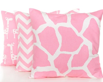 Baby Pink Pillow Covers, Set of Three, Pink Baby Pillows, Girls Room Decor, Pink and White Pillowcases, Pink Zig Zag Print, Nursery Decor
