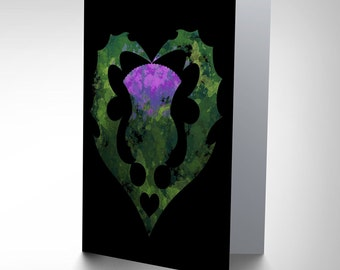 Thistle Card - Painting Heart Love Scotland Blank Greetings Card CP156