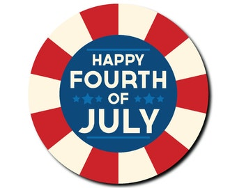 Happy Fourth of July button - July 4th - American Flag