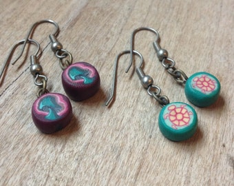 Vintage 90s Fimo Clay Earrings Set of 2