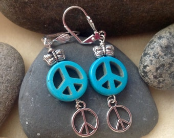 Turquoise Peace Sign Butterfly Earrings