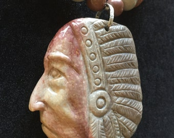 Succor Creek Jasper Carved Native American Pendant, Free Shipping