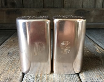 Vintage Pink Tin Salt and Pepper Shakers